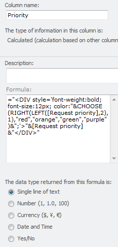 Formula for a field with 4 options