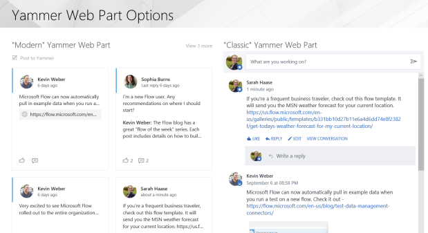 Choosing between the classic and modern Yammer web part