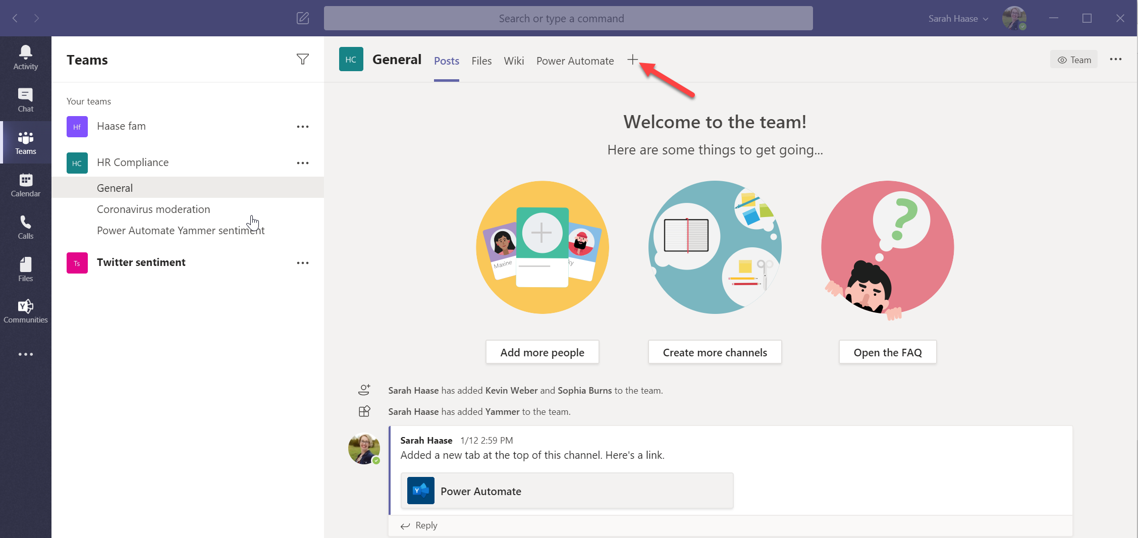Yammer app in Teams - 03