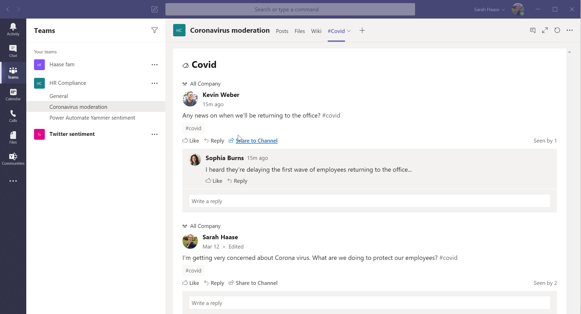 Yammer app in Teams - 08