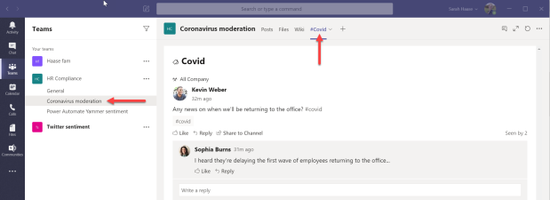Yammer app in Teams - 10